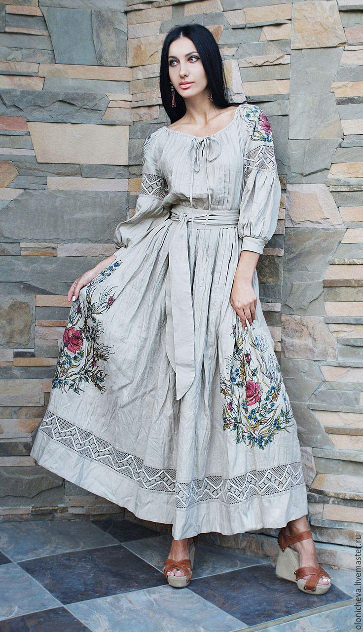 """Купить Эксклюзивное льняное платье с вышивкой и росписью """"Дымчатая роза-2""""…"""