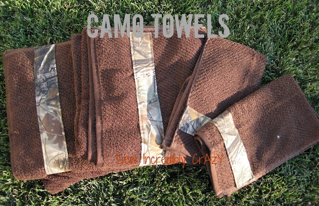 DIY - Camo Bath towels tutorial - you can use other material as well! I need these made for my bathroom