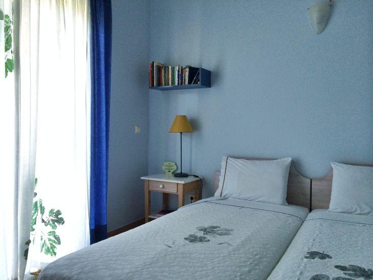 "One the of the blue rooms, ""Elia"".   #eleonashotel #rovies #evia #vacations #decoration #minimal #simple"