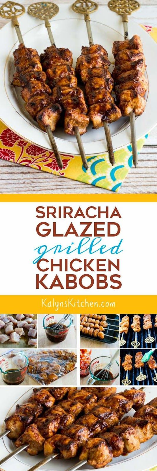 When you want something fun to cook on the grill, these Sriracha-Glazed Grilled Chicken Kabobs are delicious (and kid-friendly if you adjust the amount of Sriracha!) And these tasty kabobs are low-carb, gluten-free, dairy-free, and South Beach Diet Phase One. [found on KalynsKitchen.com]