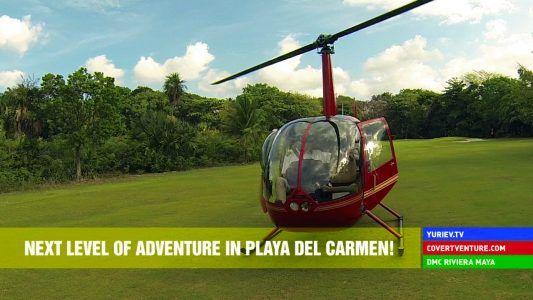 У нас пополнение! Новенький вертолет в аренду Robinson 44 в Плайя дель Кармен Ривьера Майя Мексика.