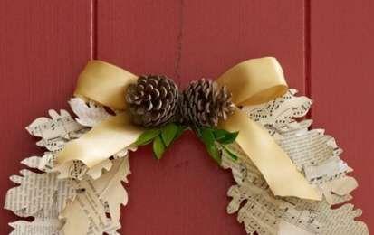 Ghirlande Natalizie di carta - Ghirlanda con foglie di giornale