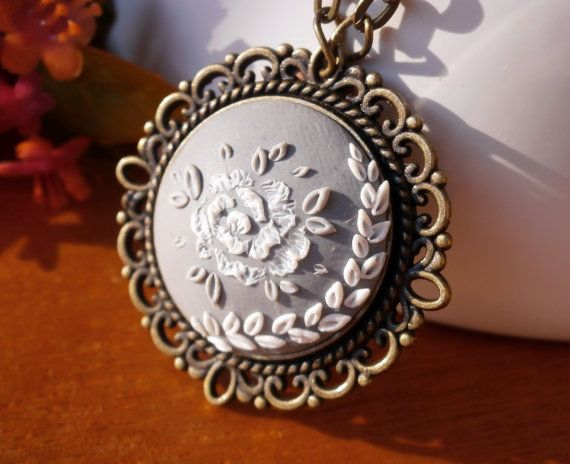 Grey Polymer Clay Jewelry, Embroidery Pendant, Polymer Clay Necklace and Earrings, Polymer Clay Pendant, Round Pendant