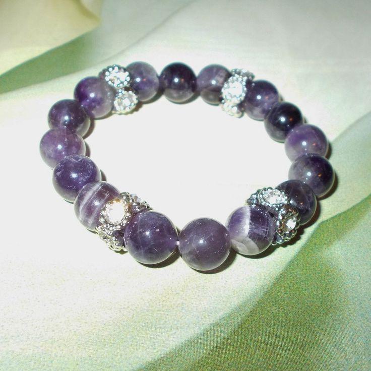 Dog Tooth Amethyst Bracelet - Purple Perfection - Healing Bracelet Third Eye Chakra Cleansing Stone Breath Of Life Purple Bracelet by UnikButikJewelry on Etsy