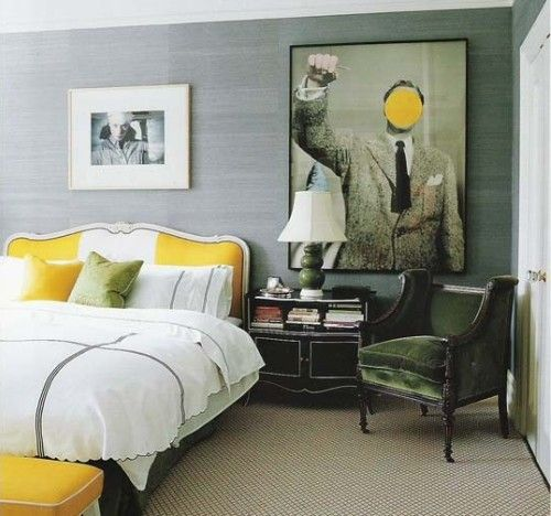 Yellow and grey accents: the answer to living with my husband's horrid green couch?
