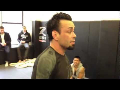 Eddie Bravo rolling with Marcelo Garcia at Marcelo's gym. This was after both of them had been rolling for probably almost an hour - a sweep and a nice twist...
