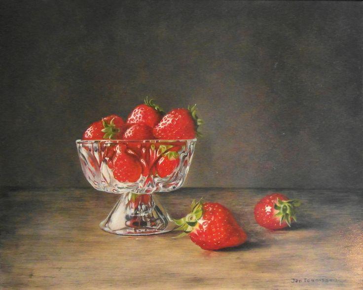 """#Stilleven """"Aardbeien in schaal"""" van Jan Teunissen te koop op KUNSTmarktplaats.nl.   #kunst #schilderij #olieverf"""