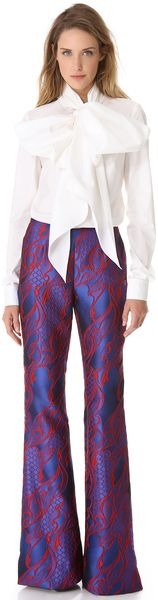 Wes Gordon Filigree Brocade Flare Pants - Lyst