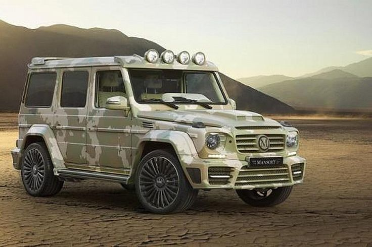 mercedes benz g class sahara edition by mansory based on the g63 amg army camouflage applied on a custom carbon fibre body and 80mm wider than th
