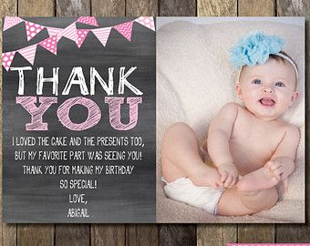 Chalkboard Thank You Card With Picture Chalkboard Thank You First Birthday Thank You Printabl Birthday Cards For Mom Birthday Invitations Birthday Thank You