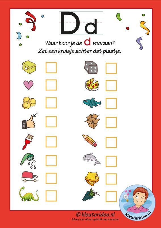 Pakket over de letter d blad 9,  in welk woord hoor je een d vooraan, letters aanbieden aan kleuters, kleuteridee.nl, free printable.