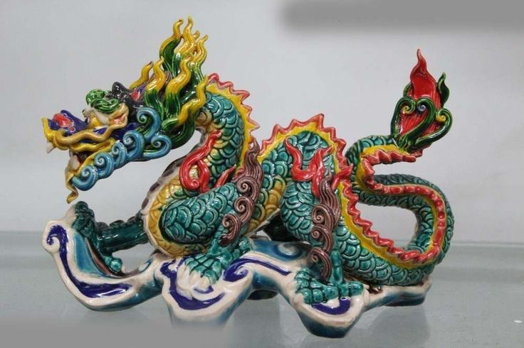 Taiwan Cochin pottery Colorful porcelain Feng Shui Wealth Fly Dragon Art Statue #Affiliate