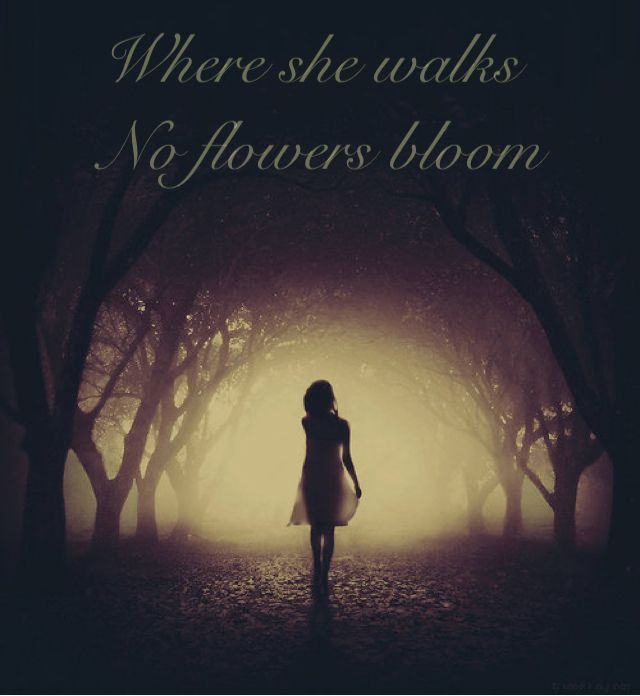 writing prompt: Where she walks, no flowers bloom. She's a fairy, she's not a bad one. But she's not a good one either. No one knows where she came from and her eyes seem to suck your soul away as you stare into them. You want to leave their gaze but you also can't help but yearn to look deeper. To search for the soul that was once there. The light of a fairy.... Has gone out.