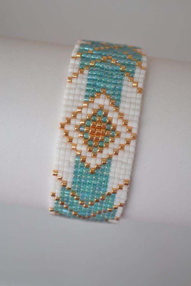 Bracelet manchette en Perles Miyuki délicat 11/0 Couleur : Or, Turquoise et Blanc