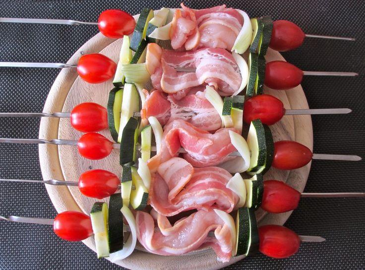 Brochettes de poulet mariné aux lards et petits légumes : Diet & Délices - Recettes dietétiques
