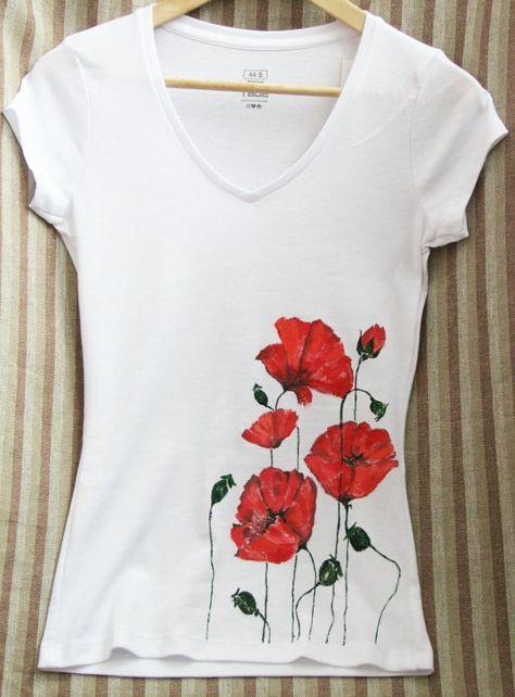 T-shirt with flowers, handpainted t-shirt, poppy, Hand painted t shirts, Women's Top, female T-shirt,T-shirt for girls, T-shirt with poppies