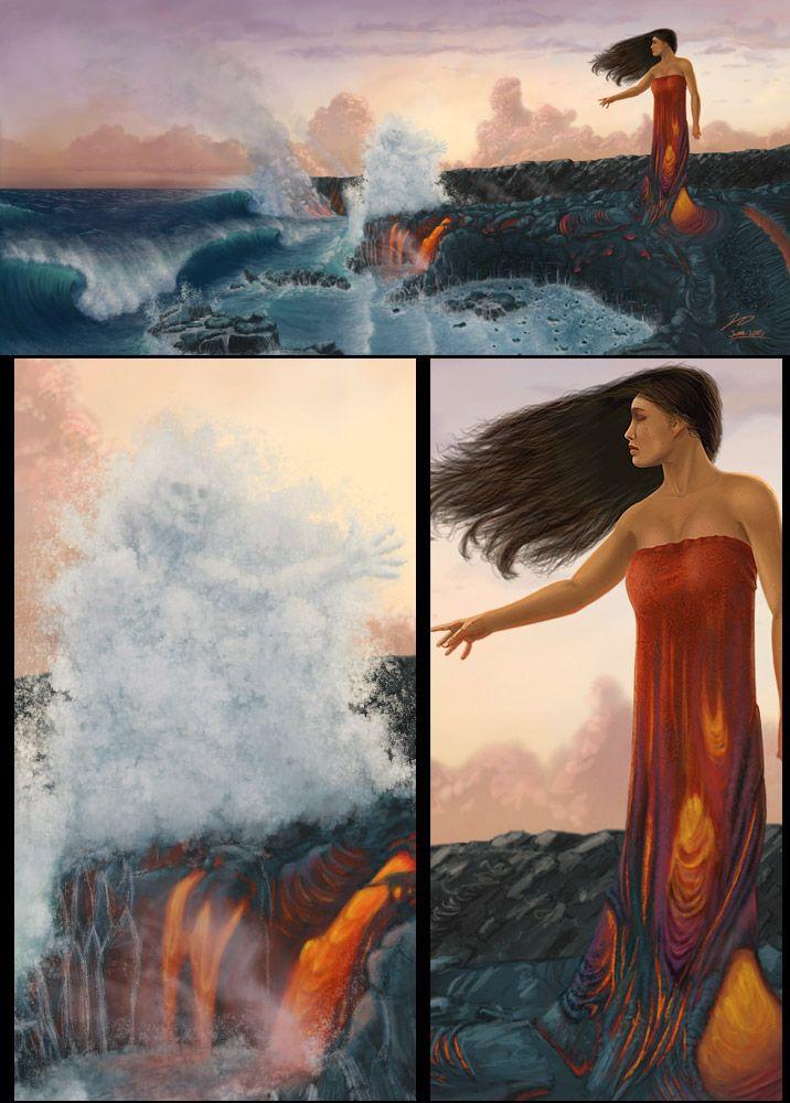 Pele met her sister, Namakaokaha`i, goddess of water