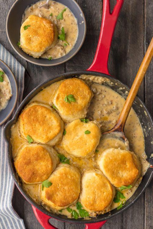 SAUSAGE BISCUITS AND GRAVY SKILLET COBBLERReally nice recipes.  Mein Blog: Alles rund um die Themen Genuss & Geschmack  Kochen Backen Braten Vorspeisen Hauptgerichte und Desserts