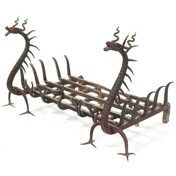 Anonymous; Wrought Iron Fireplace Grate, c1910.