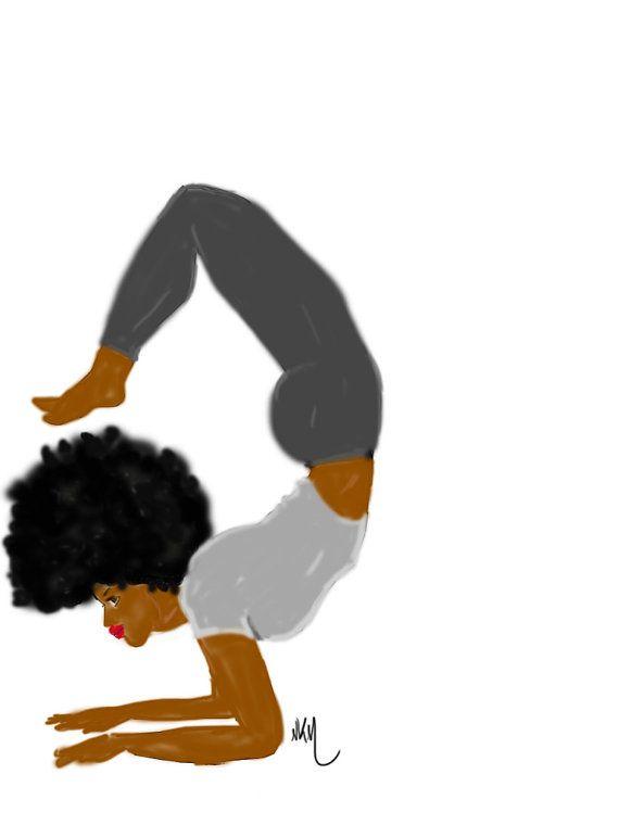 Yoga Afro Black Girl Art Black Women Art Yoga Illustration