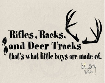 rifles rack and deer tracks, thats what little boys are made of.