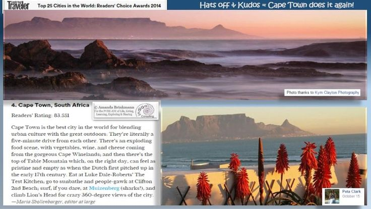 KUDOS to #capetown for being voted #4 of the Top 25 Cities of the World. Come & pay us a visit. We'll treat you:-)
