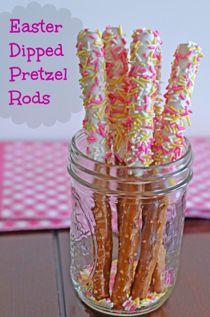 Easter Desserts: Decorated Dipped Pretzel Rods
