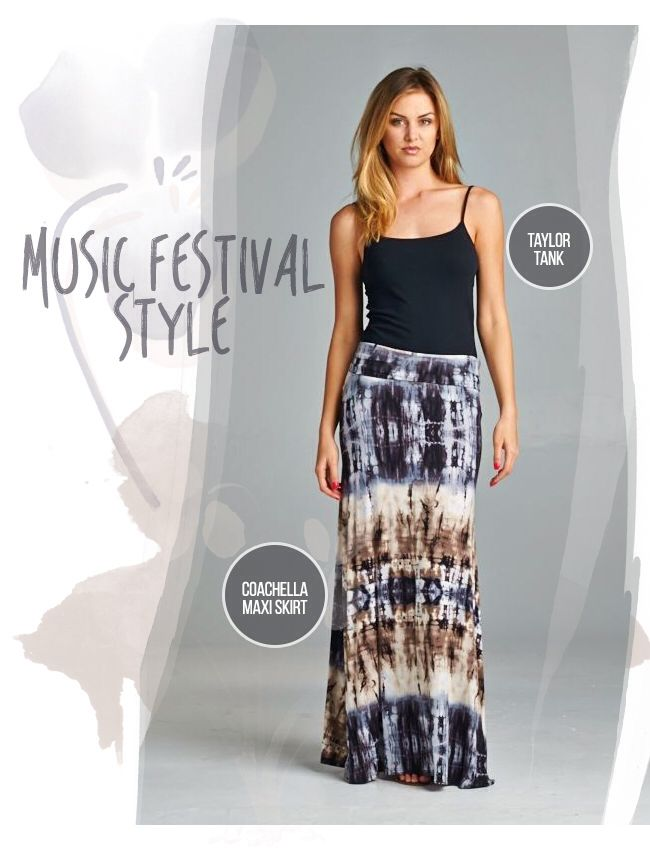 Maxi skirts and tank tops. Get them at www.silvericing.com/kelsclothes