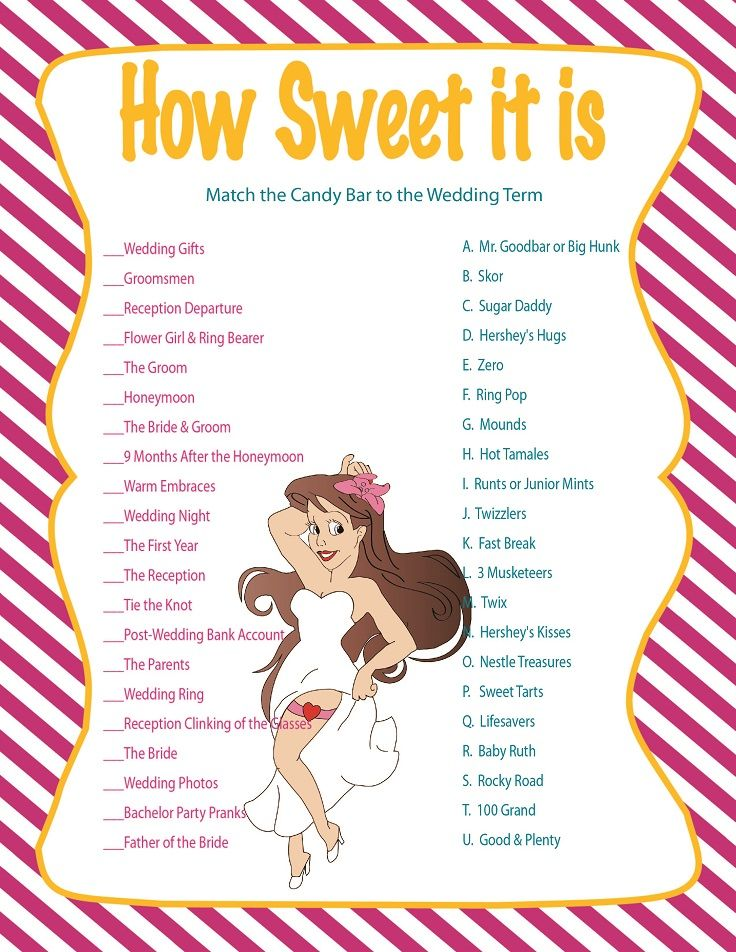 Printable Bridal Shower Game How Sweet It Is
