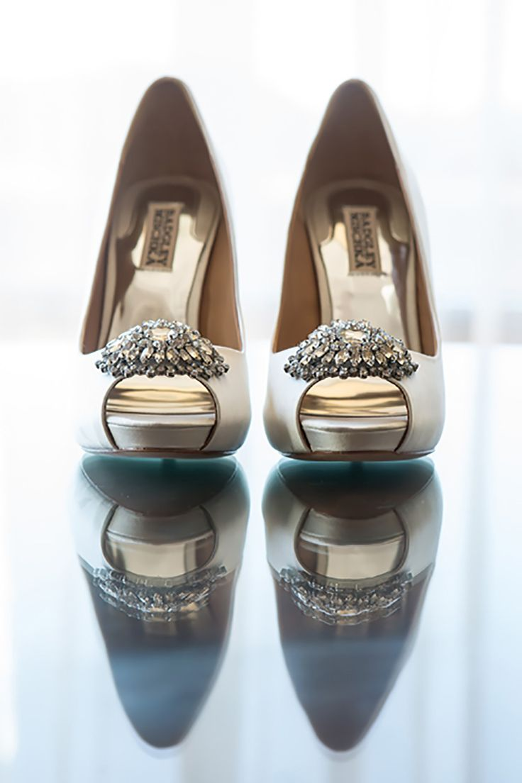 Fabulous Four Seasons Wedding in Westlake Village, CA  Photographer - Maya Myers Photography   Stunning white Badgley Mischka bridal shoes!