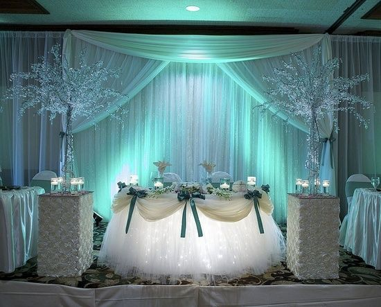 Blue/aqua washed backdrop with lights under the tutu skirted sweetheart table. So pretty!