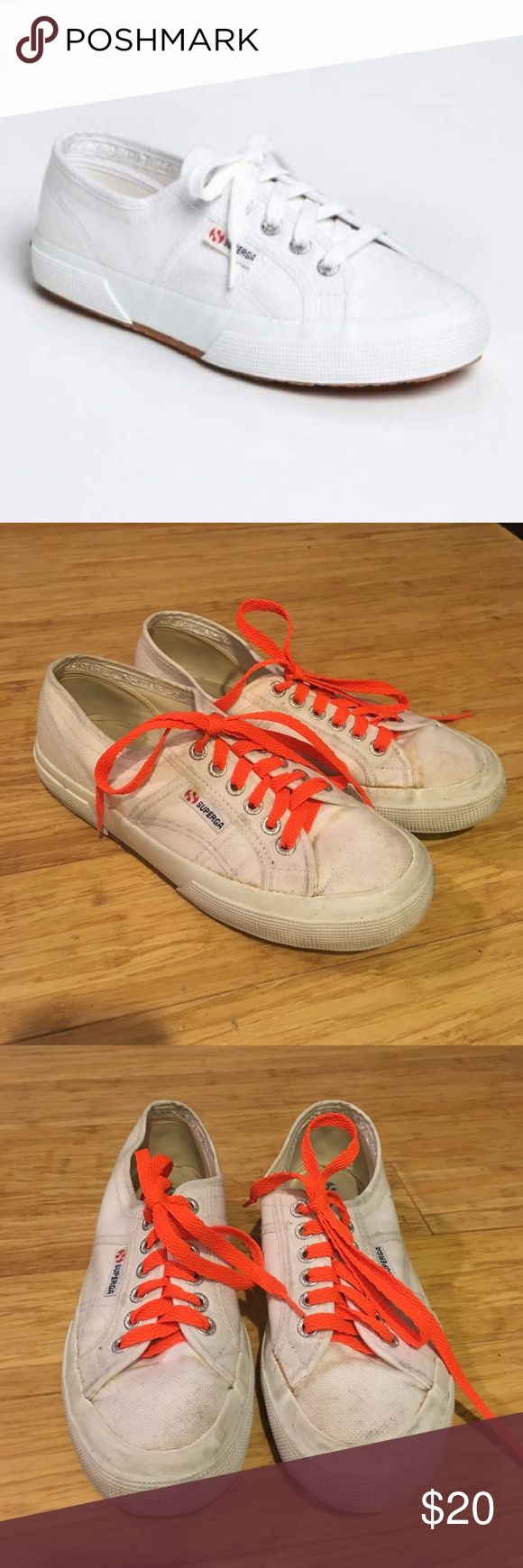 Superga White Sneakers with Orange Laces Well-loved Superga white sneakers with fun, orange laces. Size 39. Superga Shoes Sneakers