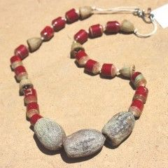Paper Beads Necklaces strung on cord or hemp