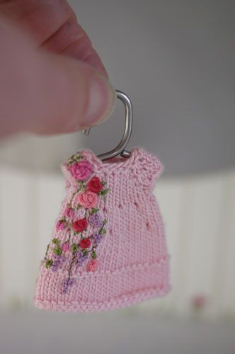 Hand embroidered and knit dress for Tonner's Amelia Thimble dolls by Cindy Rice Designs.