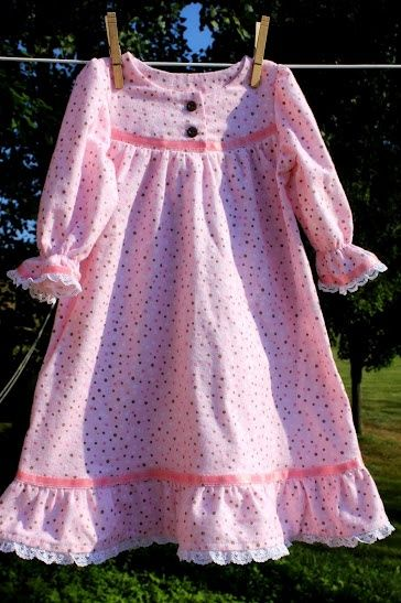 Little Girls Nightgown Pattern Free | Pink flannel nightgown for Grace W.