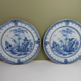 PAIR OF 18TH C DELFT PLATES - Decorative Collective