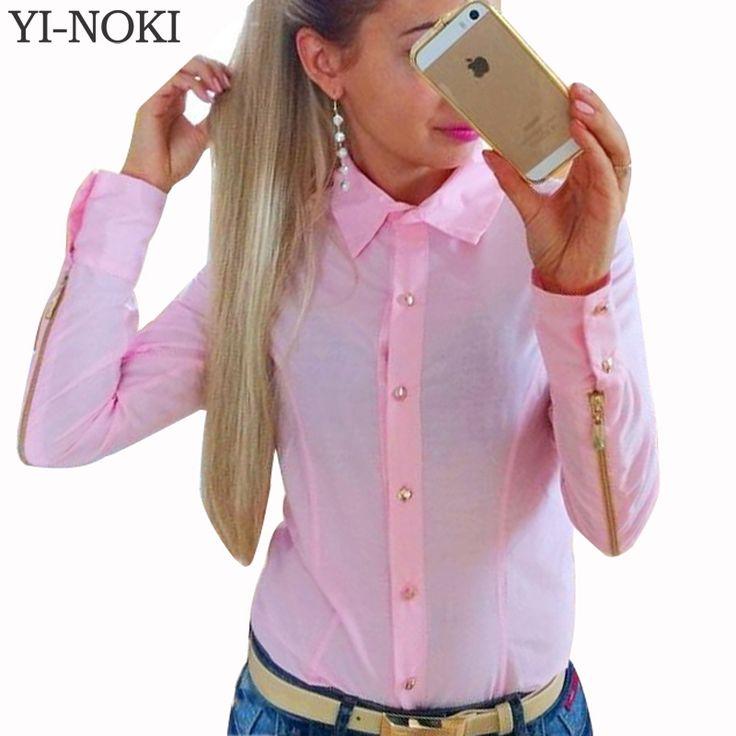 YI-NOKI Autumn Winter Fashion Women Blouse Plus Size Women Clothing Blouse Tops Leisure Zipper Long Sleeve Work Tight Suit Shirt