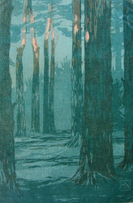 Last Rays of the Sun (Letzte Sonnenstrahlen) Hans Neumann, Woodcut, 1910