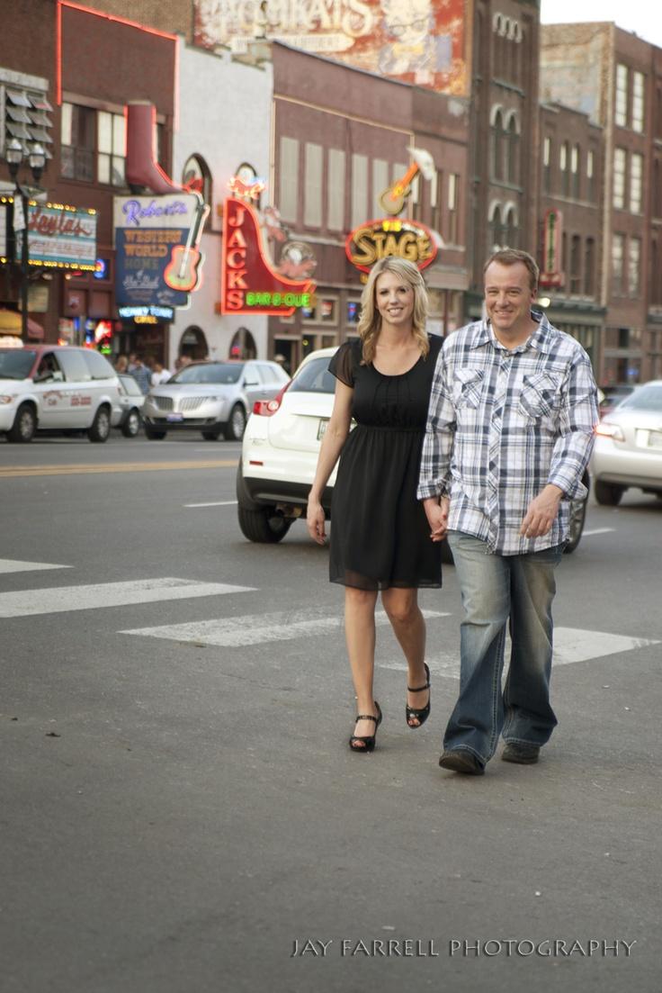 downtown Nashville engagement photo