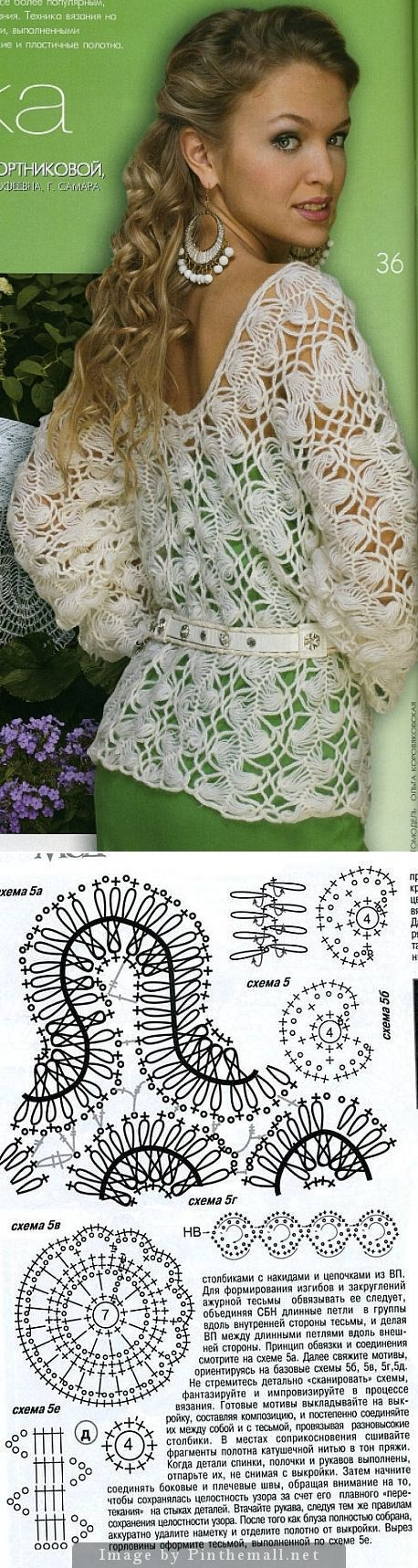 "#Crochet_Tutorial - ""This gorgeous Hairpin Lace crochet top is from one of those Russian sites that unfortunately often become blocked, so I've included the graphics that came with this. They are a good starting point for experimenting with this beautiful style."" 4U from #KnittingGuru ** http://www.KnittingGuru.etsy.com"