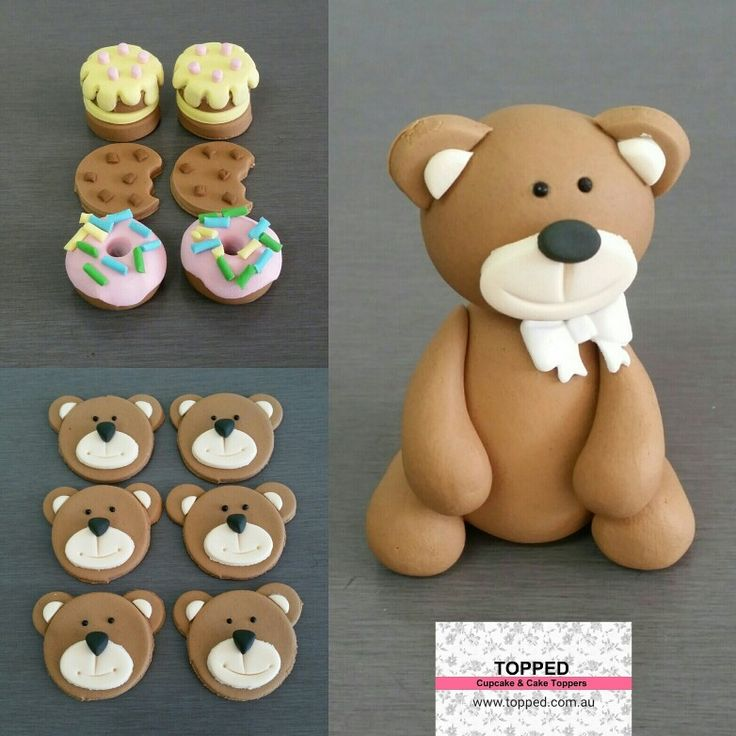 Edible Teddy Bear Picnic Cupcake and Cake toppers - Fondant decorations