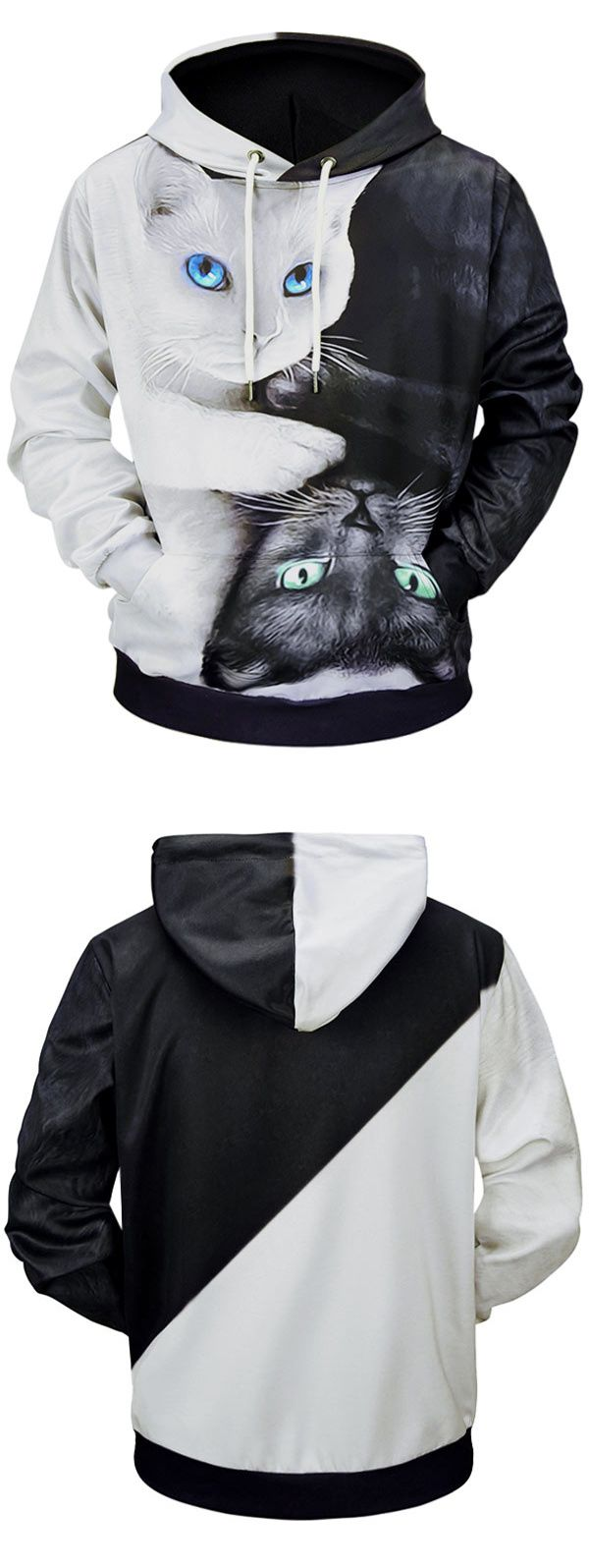 Casual 3D Cats Printed Soft Hoodie