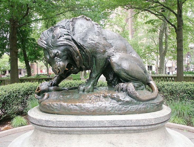 Lion Crushing a Serpent, Rittenhouse Square    Antoine Louis Barye  1932