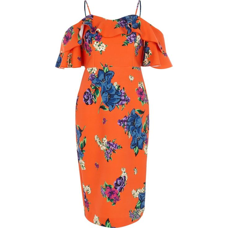 ​Orange floral cold shoulder bodycon dress