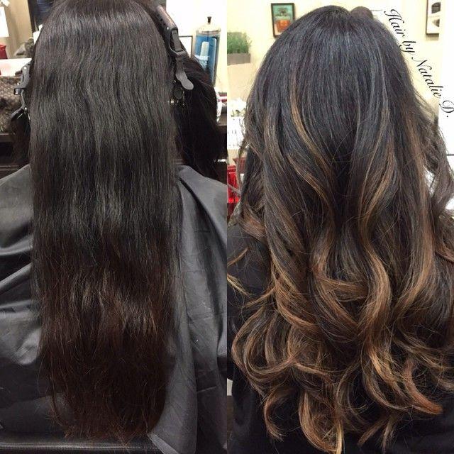 Black hair to balayage black hair.                                                                                                                                                                                 Mais
