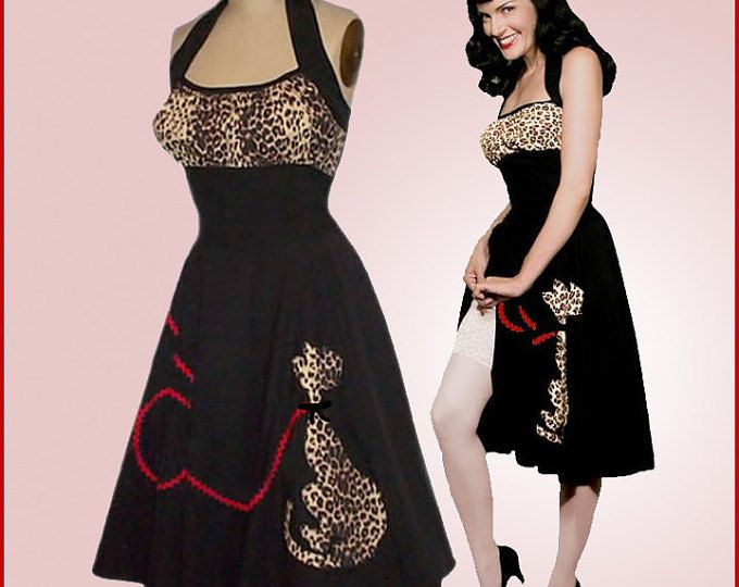 Bombshell Pin Up Leopard Kitty Halter Dress… MeeeeOw! Natural or Pink Kitty-Ca…