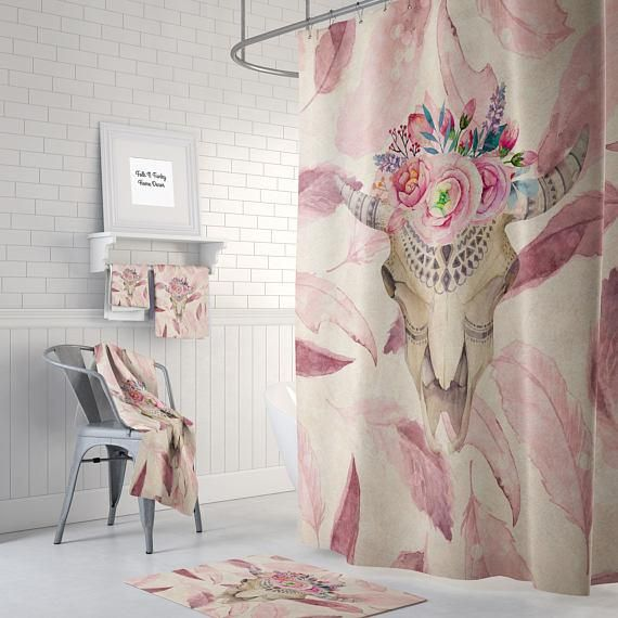 Boho Chic Mauve Feathers Bull Skull Shower Curtain Shabby Chic