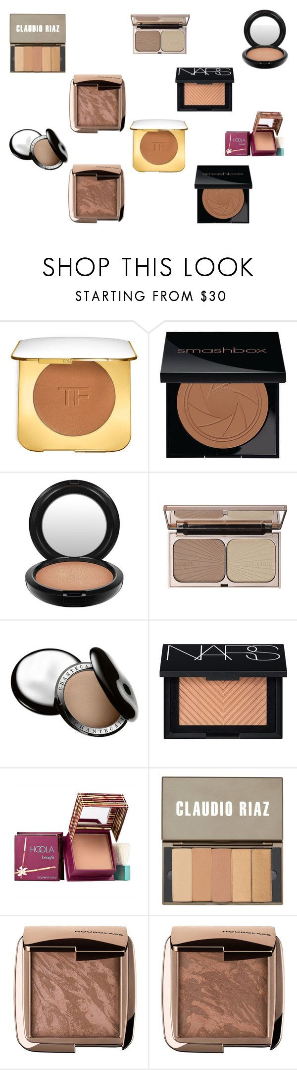 """Current fav bronzers"" by tyronewelle ❤ liked on Polyvore featuring beauty, Tom Ford, Smashbox, MAC Cosmetics, Charlotte Tilbury, Chantecaille, NARS Cosmetics, Benefit, Claudio Riaz and Hourglass Cosmetics"