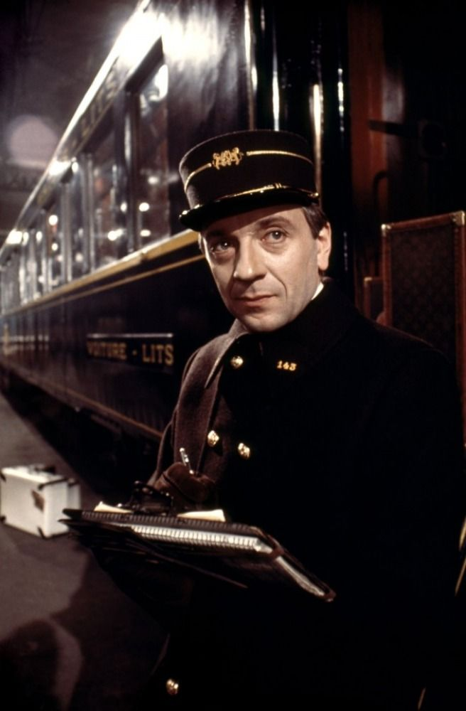 "Trains & Travel:  Jean-Pierre Cassel (1932 - 2007), as the French conductor in ""Murder on the #Orient #Express."""