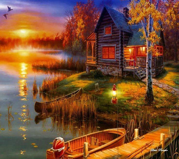 Christmas At The Lake: Cabin On The Lake ~ Thomas Kinkade